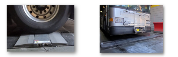 Speed bump type automated tire tread wear measurement equipment. The remaining tread depth of the vehicle passing through the upper side is measured instantaneously.